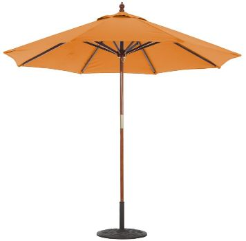 9' Sunbrella A Wooden Market Umbrella with Double Pulley Galtech 132-232
