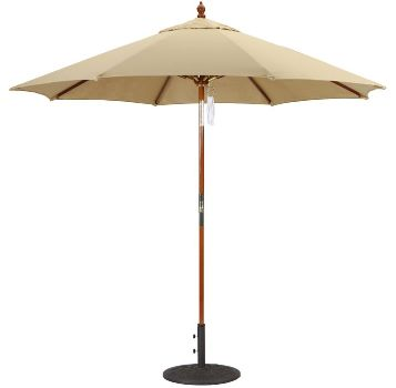 9' Sunbrella A Wooden Market Umbrella with Quad Pulley Galtech 139-239
