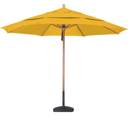 11 foot Sunbrella A wood patio umbrella