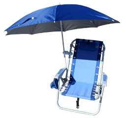 Beach umbrella clamp and umbrella combo (chair not included)