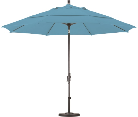 11 foot olefin aluminum patio umbrella with crank on bronze pole