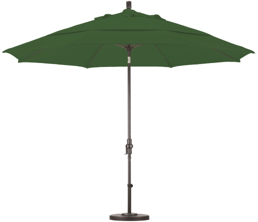 11 Foot Pacifica Aluminum Patio Umbrella With Crank On Matted White Pole