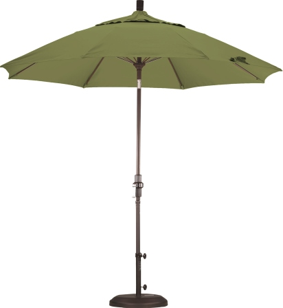 9 foot pacifica aluminum patio umbrella with crank on matted white pole