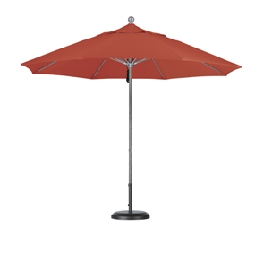 9 foot olefin aluminum market umbrella with anodized silver frame